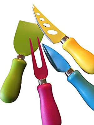 Multi Colored Cheese Knives by Green Owl, 4-Piece Stainless Steel Cheese Knife to Hold, Cut, Slice and Carve Different Kinds of Cheese - Set of 4