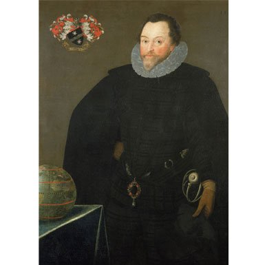Sir Francis Drake - Treasures of the Royal Courts Exhibition Postcard