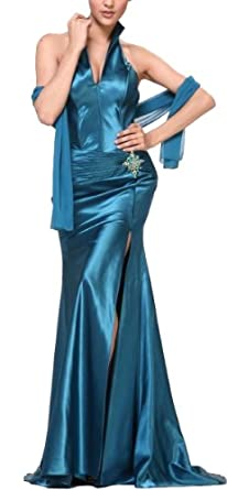 Meier Women's Halter Corset Satin High Slit Long Gown 7701 (XL, Teal)