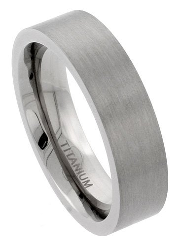 Titanium 6mm Flat Wedding Band Ring Matte Finish Comfort-fit, size 7