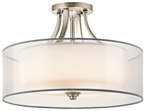 42387AP Lacey 4LT Semi-Flush, Antique Pewter Finish with White Organza Fabric (Outside) and Opal Etched Glass (Inside) Shades