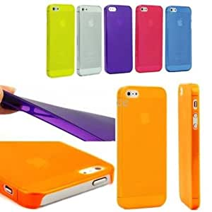 Apple IPHONE 5 case cover 0.5mm Thick Transparent and Matte Finish - Orange