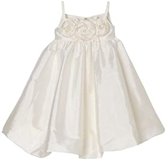 Us Angels Big Girls' Bubble Dress With Floral Bodice, Ivory, 7