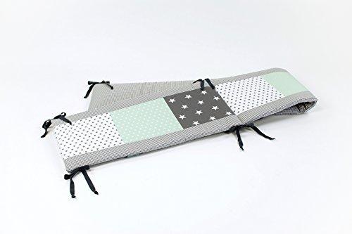 BEBILINO ORIGINAL Tour de lit bébé pour lit 140x70 cm GRIS MINT (210 x 30 cm)