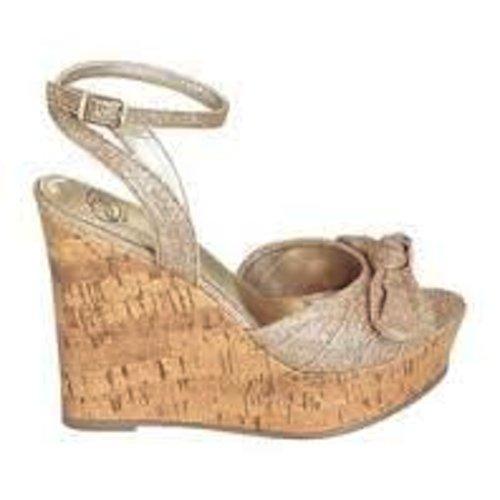Steve Madden Glitterati Wedge Dress Sandal (5.5, Gold) front-866122