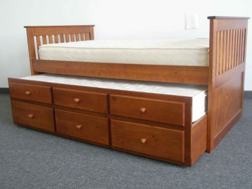 Bedz King Captains Twin Bed With Twin Trundle And 3