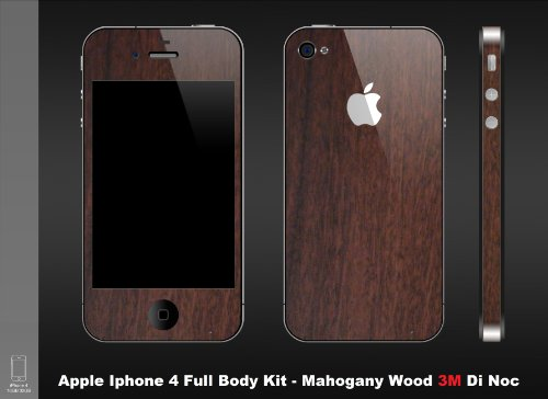 Iphone 4 Mahogany Wood (Wood Series) Full Body Protection By Carboniphone's (Comes with Free Antiglare Screen Guard and Protective Apple for Ultimate Protection)
