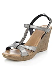Leather Diamanté T-Bar Wedge Sandals