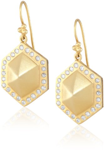Lauren Harper Collection Mirage 18k Gold and Diamond Classic Pyramid Drop Earrings