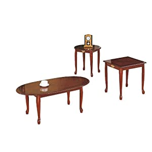 Queen Anne Style Cherry Finish Wood Coffee Table 2 End Tables Set 108 Aecs