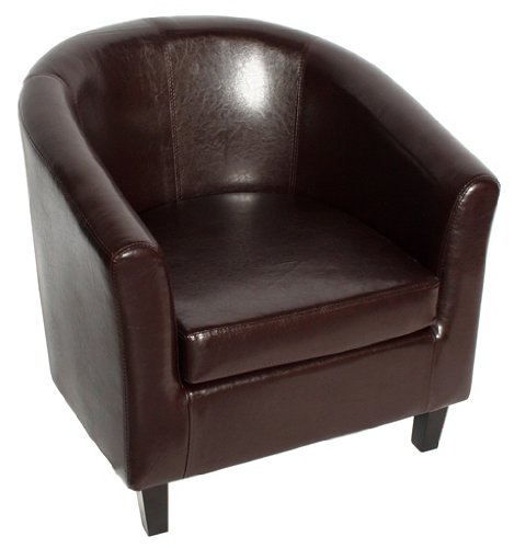 Brown Faux Leather Tub Chair