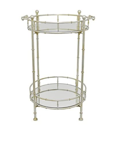 Three Hands 2-Tier Mirror Table, Silver
