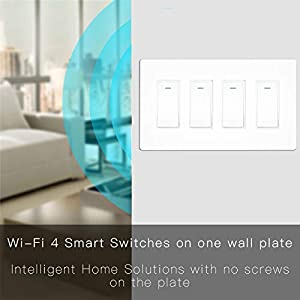 MOES WiFi Smart Light Switch,4 Gang No Screw Panel Smartlife/Tuya App Wireless Remote Control In-Wall Switch Timer for Lights,Compatible with Alexa,Google Home and IFTTT,No Hub required (Color: White)
