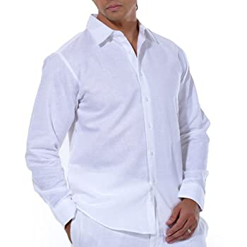 Linen/cotton blend long sleeve shirt in white.