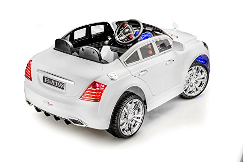 sportrax mercedes maybach style luxury kids ride on car battery powered remote control wfree mp3 player white