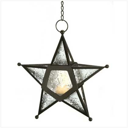 B008YQ47W4 Gifts & Decor Glass Hanging Star Candle Lantern, Clear