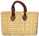 "Moroccan Straw Summer Beach / Shopper / Tote Bag 14""x9""x4.5"""
