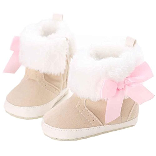 Voberry Toddler Baby Gilrs Leather Fur Boots Bowknot Winter Outdoor Warm Snow Boots (0~6 Month, Khaki)