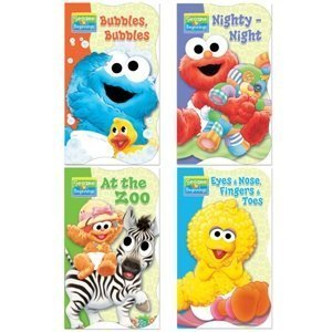 Sesame Street Beginnings® Shaped Board Books (Set of 4) -Nighty Night, Bubbles Bubbles, At the Zoo, and Eyes Nose Fingers Toes - Sesame Street Learning Book Set