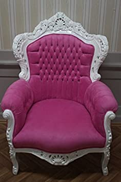 baroque armchair carved in creme-white louis pre victorian antique style rococo AlCh0500WeRs