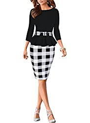 Viwenni Women's Houndstooth Belted Colorblock Tartan Wear to Work Casual Pencil Dress