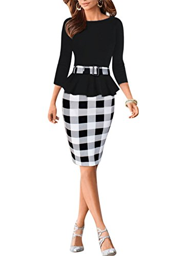 Viwenni-Womens-Houndstooth-Belted-Colorblock-Tartan-Wear-to-Work-Casual-Pencil-Dress