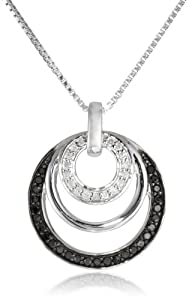 Sterling Silver 1/4cttw Black and White Diamond Circle Pendant Necklace, 18
