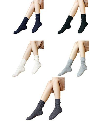 Zando morbida lana multicolore da donna a maglia piatta cuscino accogliente comfort calzini Mix Color-5 Pairs A Taglia unica