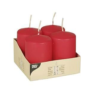 Papstar Pillar Candles, Red, 4 Pcs. 50 Mm, 80 Mm