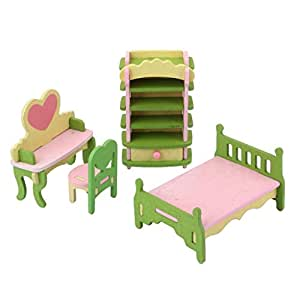 Generic Dollhouse Toy Furniture Wooden Kids Bedroom Set