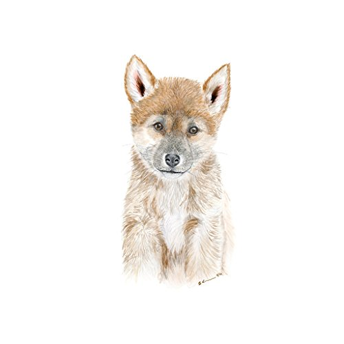 Dingo Pup, Outback Baby Animal Nursery Print, Australian Wildlife, Grey, Beige, Brown, Gender Neutral - Various Sizes Available