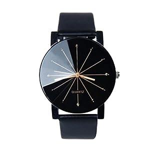 Yasalu Men Quartz Leather Wrist Watch Dial Clock Round Case