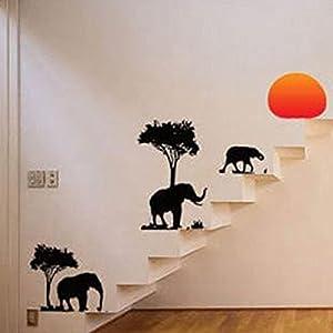 ufengke® Praderas Africanas Animales Elefantes Negros Pegatinas de Pared, Vivero Habitación de Los Niños Removible Etiquetas de La Pared / Murales de Ufingo - BebeHogar.com