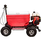 CRAZY COOLERS Motorized Cooler (RED) - 49CC 4-Stroke Engine + Solid Frame + 4 Terrain Wheels + Wicked Wheelie Bar. PARTY STUFF