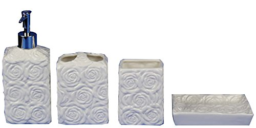 4 piece bathroom accessories set wild rose with soap or lotion dispenser toothbrush holder for Anna s linens bathroom accessories