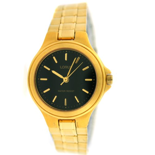 Lorus Ladies Watch Classic Gold Tone Metal Link Satin Finish Band Black Dial SALE