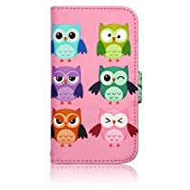 Pink Camo Cute OWLS Birds Faux Leather Wallet Purse clutch Handbag Samsung Galaxy S3 i9300 Case Cover with Clear Slot for ID, Credit Card Slots and Hidden Slot for Cash