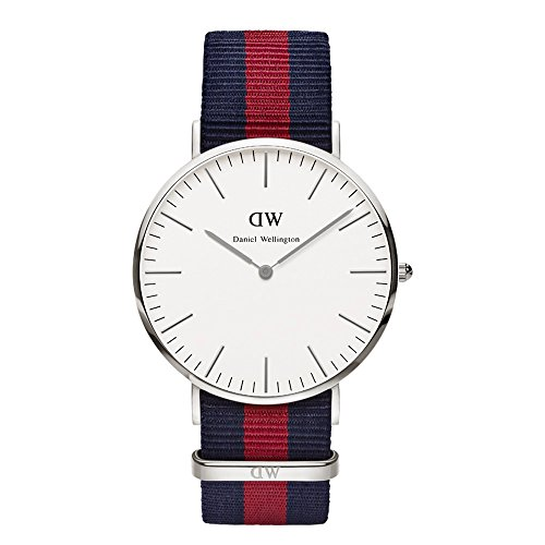 Daniel Wellington Oxford Silver Men's Quartz Watch with White Dial Analogue Display and Multicolour Nylon Strap 0201DW