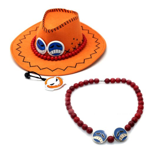 Rulercosplay One Piece Portgas D Ace Cowboy Hat Cosplay Hat + Necklace (Ace Hat compare prices)