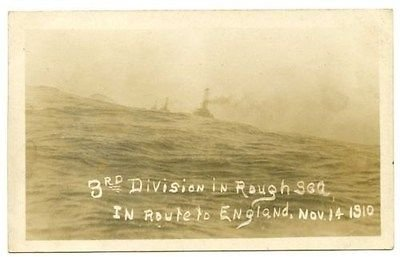 U.S. Navy Ships with 3rd Division In Route to England Real Photo Postcard #11493