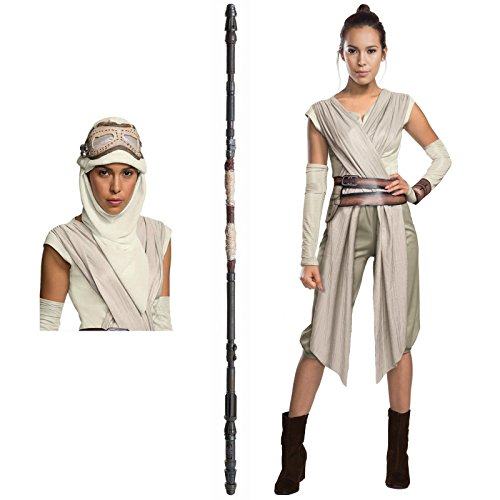 [Star Wars The Force Awakens Costume Bundle Set - Deluxe Adult Medium Costume, Eye Mask, and Staff] (Female Robot Costumes)