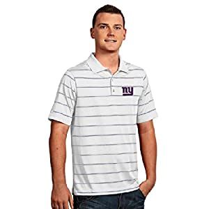 New York Giants Deluxe Striped Polo (White) by Antigua