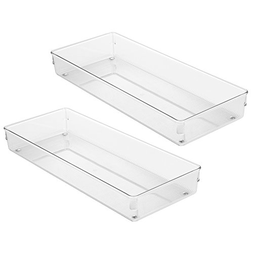 "InterDesign Linus Kitchen Drawer Organizer for Silverware, Spatulas, Gadgets - Set of 2, 6"" x 15"" x 2"", Clear"