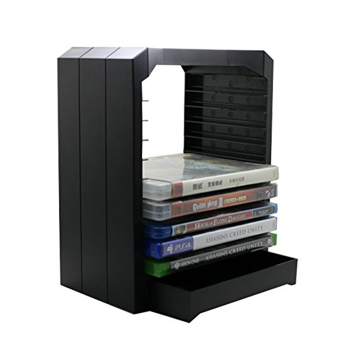 Rayability Vertical Xbox One/One S Storage Tower for Microsoft Game Blue-ray Disc Storage Holder with Extra Drawer (Xbox Game Storage Tower compare prices)