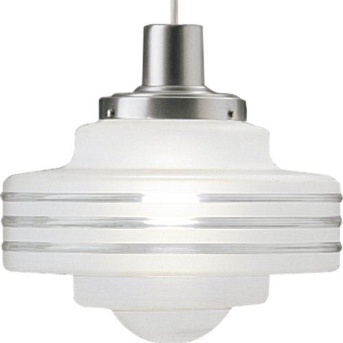 Progress Lighting P5121-16 Hand-Blown Deco Pendant, Satin Aluminum