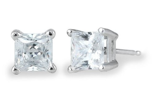 1.50ct Princess Diamond Solitaire Earrings in 14k White Gold