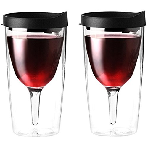 Vino2Go Double Wall Acrylic Tumbler with Black Lids, 10 oz, Pack of 2 (Wine Tervis compare prices)