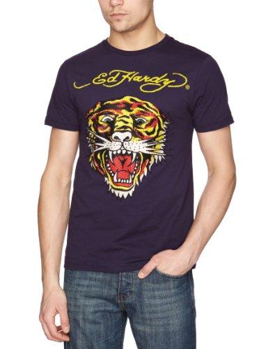 Ed Hardy Tiger Plat 12 Printed Men's T-Shirt Purple Medium
