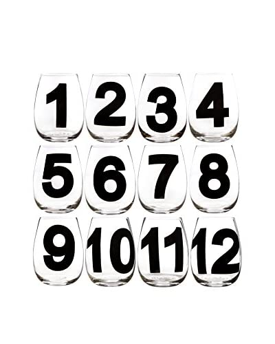 Home Essentials Set of 12 Numbered 18-Oz. Stemless Wine Glasses