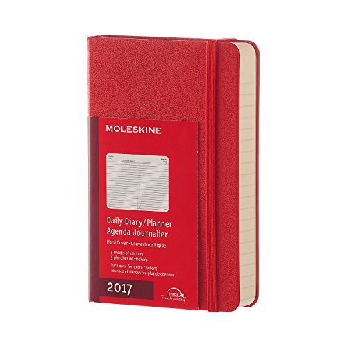 Moleskine Pocket Agenda Giornaliera da 12 Mesi, Copertina Rigida, Rosso